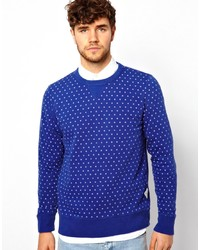 Синий свитер с круглым вырезом в горошек