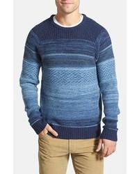 Синий свитер с круглым вырезом с жаккардовым узором