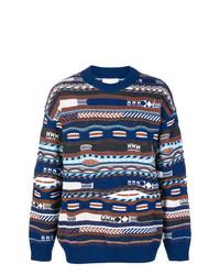 Мужской синий свитер с круглым вырезом с жаккардовым узором от Laneus