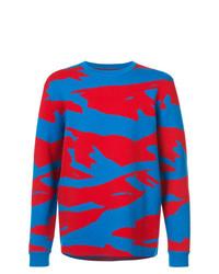Мужской синий свитер с круглым вырезом с камуфляжным принтом от Aztech Mountain