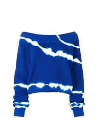 Синий свитер с круглым вырезом с принтом тай-дай