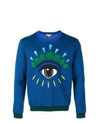 Мужской синий свитер с круглым вырезом с принтом от Kenzo