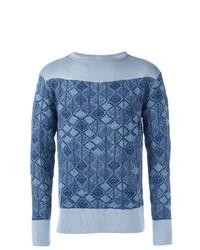 Мужской синий свитер с круглым вырезом с принтом от Vivienne Westwood