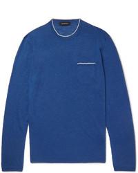 Синий свитер с круглым вырезом