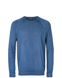 Мужской синий свитер с круглым вырезом от Drumohr