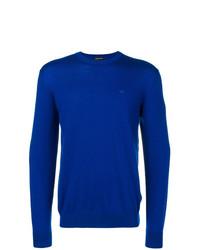 Мужской синий свитер с круглым вырезом от Emporio Armani
