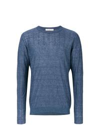 Мужской синий свитер с круглым вырезом от Golden Goose Deluxe Brand