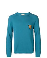 Мужской синий свитер с круглым вырезом от Gucci