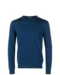Мужской синий свитер с круглым вырезом от Zanone