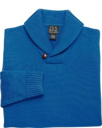 Синий свитер с отложным воротником