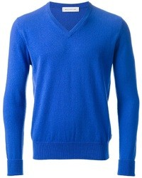 Синий свитер с v-образным вырезом