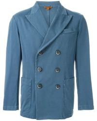 Мужской синий хлопковый двубортный пиджак от Barena
