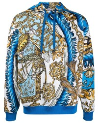 Мужской синий худи с принтом от Moschino
