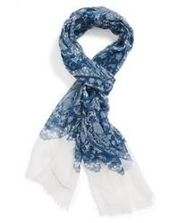 Синий шарф с принтом
