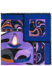 Женский синий шарф с принтом от Emilio Pucci