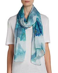 Женский синий шарф с принтом от Tahari