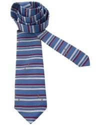 Мужской синий шелковый галстук в горизонтальную полоску от Pierre Cardin