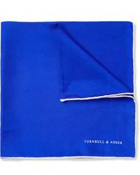 Синий шелковый нагрудный платок