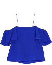 Синий шелковый топ с открытыми плечами от Fendi