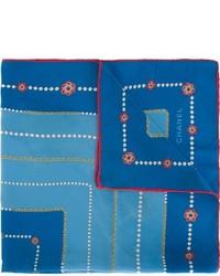 Женский синий шелковый шарф с принтом от Chanel