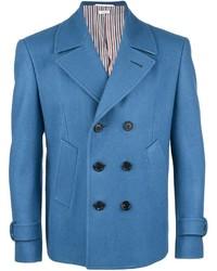 Синий шерстяной двубортный пиджак