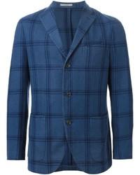Синий шерстяной пиджак в клетку