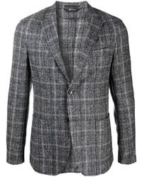Мужской синий шерстяной пиджак в шотландскую клетку от Z Zegna