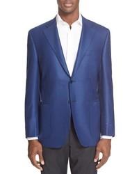 """Синий шерстяной пиджак с узором """"гусиные лапки"""""""