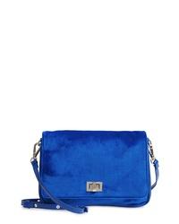 Синяя бархатная сумка через плечо