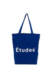 Синяя большая сумка из плотной ткани с принтом
