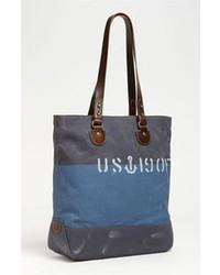 Синяя большая сумка из плотной ткани