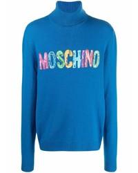 Мужская синяя водолазка с принтом от Moschino