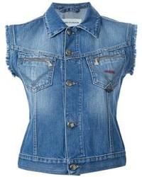 Синяя джинсовая безрукавка