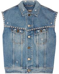 Женская синяя джинсовая безрукавка от Saint Laurent
