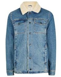 Синяя джинсовая короткая дубленка