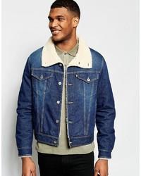 Мужская синяя джинсовая короткая дубленка от Love Moschino