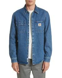 Синяя джинсовая куртка-рубашка