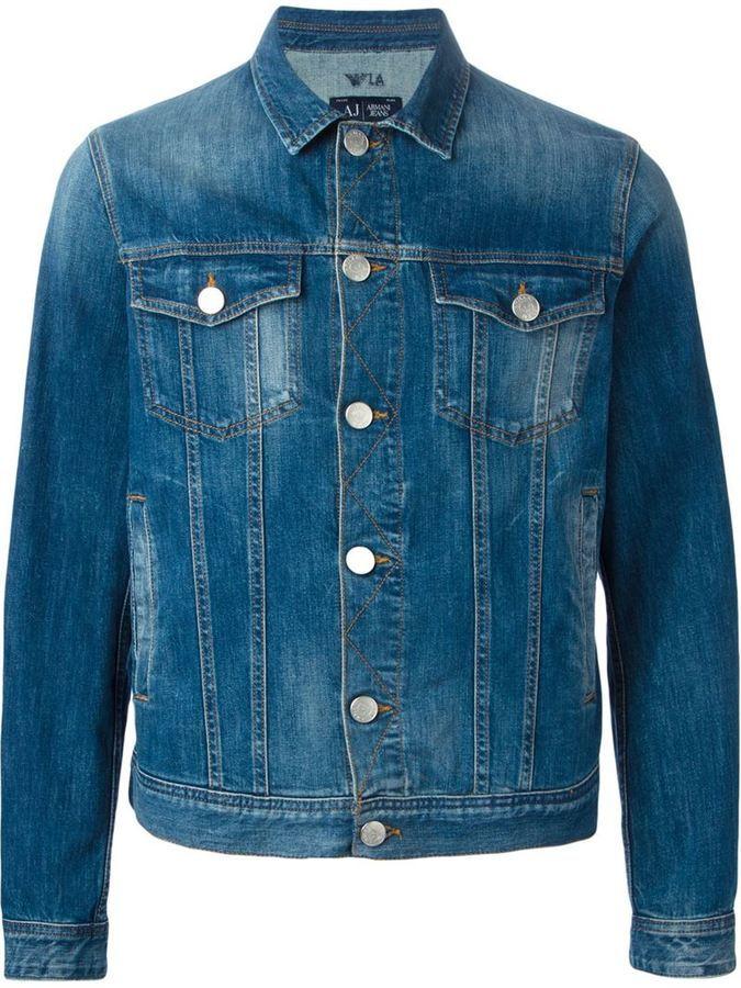 Мужская синяя джинсовая куртка от Armani Jeans   Где купить и с чем ... 013f5dc3a7b