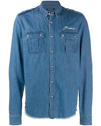 Мужская синяя джинсовая куртка от Balmain