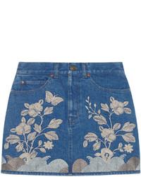 Синяя джинсовая мини-юбка с вышивкой от Gucci