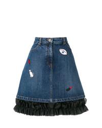 Синяя джинсовая мини-юбка с вышивкой от Vivetta
