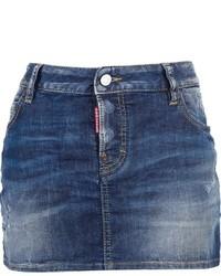 Синяя джинсовая мини-юбка