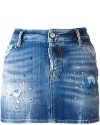 Синяя джинсовая мини-юбка от Dsquared2