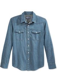 Синяя джинсовая рубашка в горошек