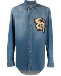 Мужская синяя джинсовая рубашка с вышивкой от Balmain