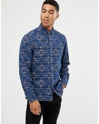 Мужская синяя джинсовая рубашка с принтом от ASOS DESIGN