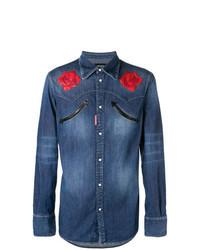 Синяя джинсовая рубашка с цветочным принтом