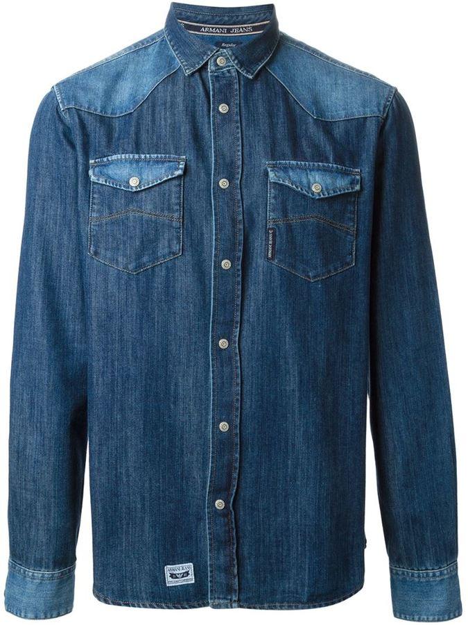 ... Синие джинсовые рубашки Мужская синяя джинсовая рубашка от Armani Jeans ccb040ccc4a