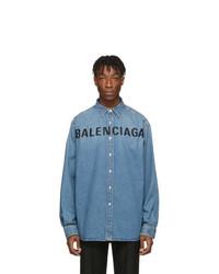Мужская синяя джинсовая рубашка от Balenciaga