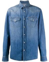 Мужская синяя джинсовая рубашка от Brunello Cucinelli